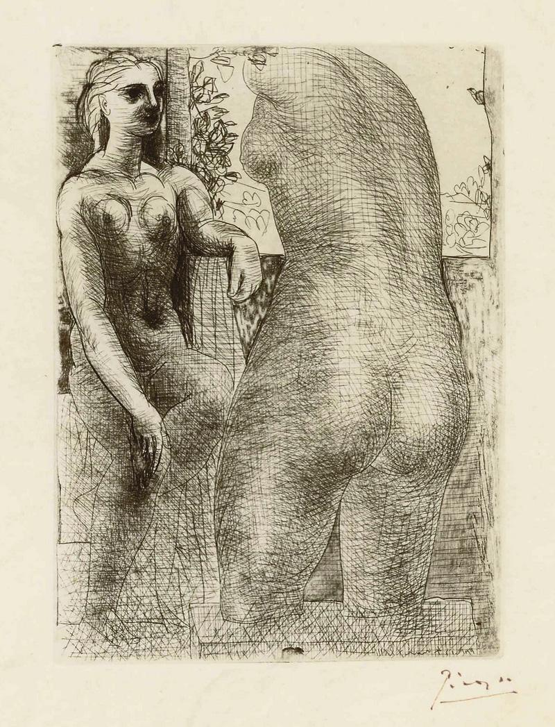 Картина Пабло Пикассо. Сюита Воллара (053). Модель и большая скульптура со спины. 1933