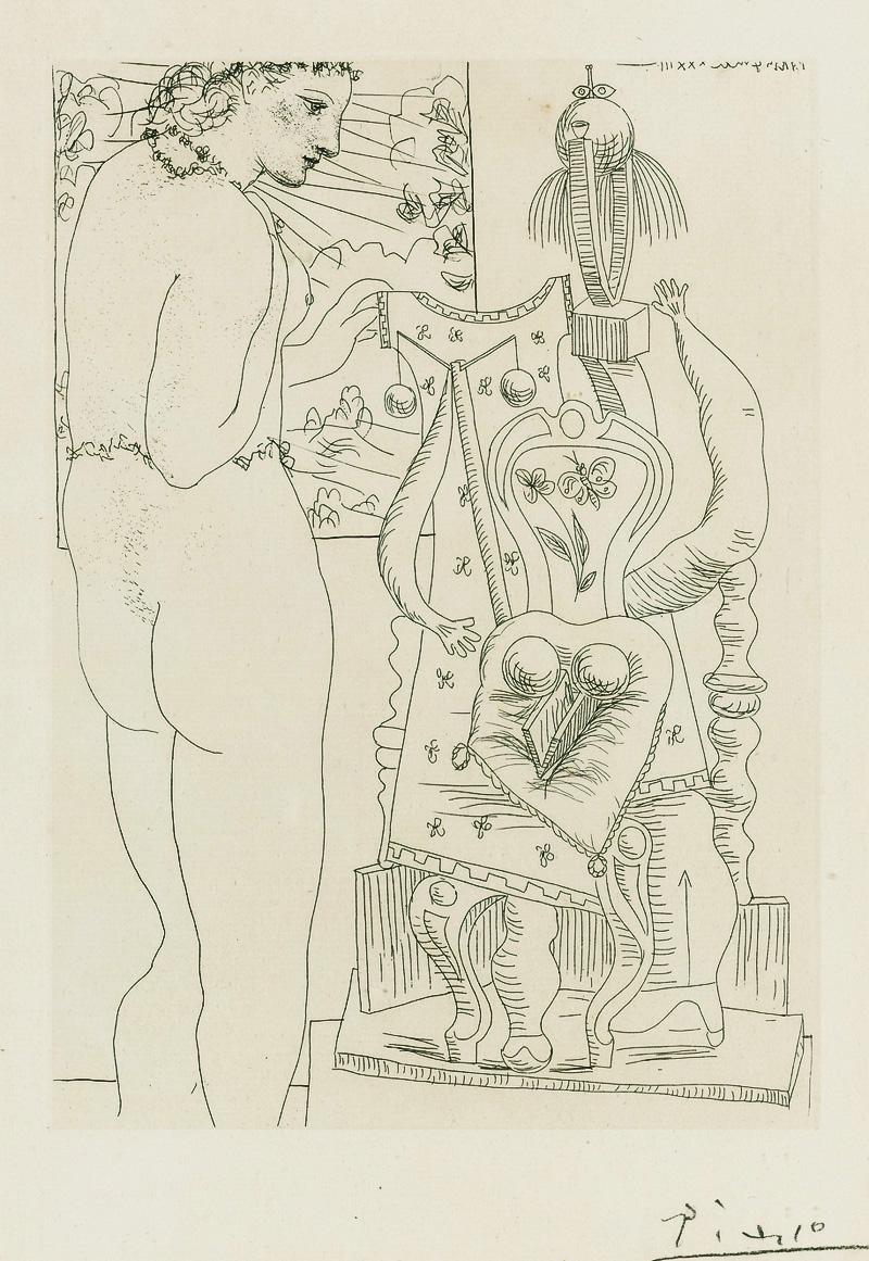Картина Пабло Пикассо. Сюита Воллара (054). Модель и сюрреалистическая скульптура. 1933