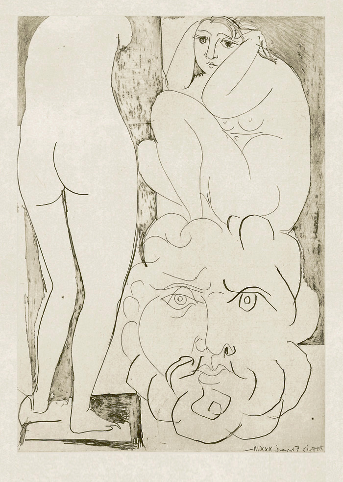Картина Пабло Пикассо. Сюита Воллара (055). Модель на корточках, скульптура женщины и бородатая голова. 1933