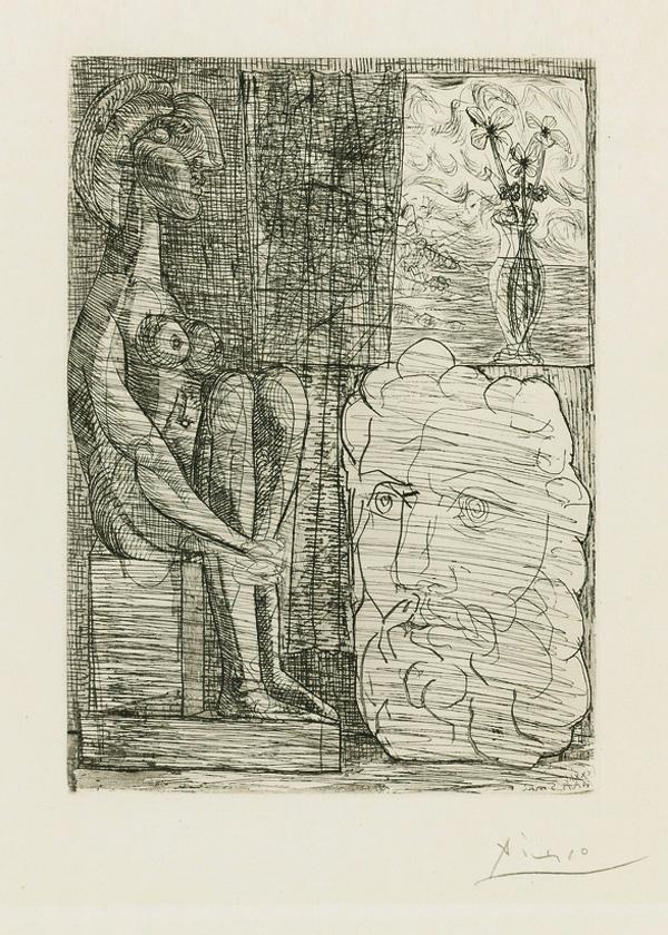 Картина Пабло Пикассо. Сюита Воллара (056). Скульптуры и ваза с цветами. 1933