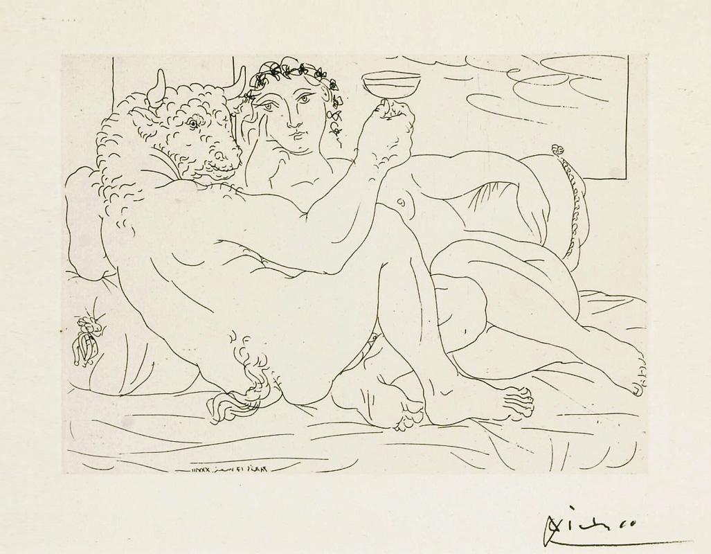 Картина Пабло Пикассо. Сюита Воллара (057). Минотавр с девушкой и кубком в руке. 1933