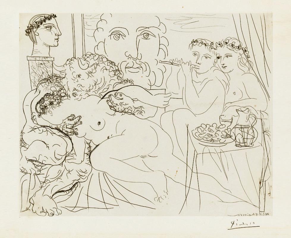 Картина Пабло Пикассо. Сюита Воллара (058). Минотавр, обнимающий женщину. 1933