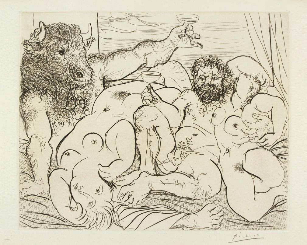 Картина Пабло Пикассо. Сюита Воллара (059). Вакхический сюжет с Минотавром. 1933