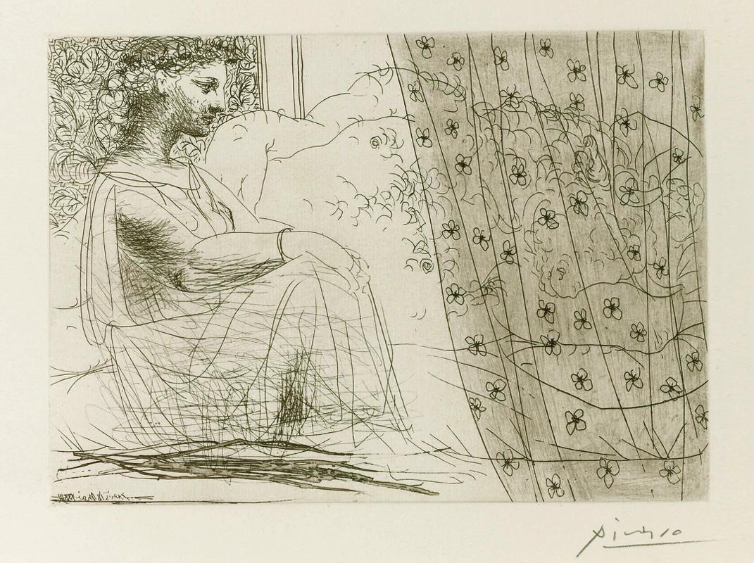 Картина Пабло Пикассо. Сюита Воллара (060). Девушка, смотрящая на спящего Минотавра. 1933