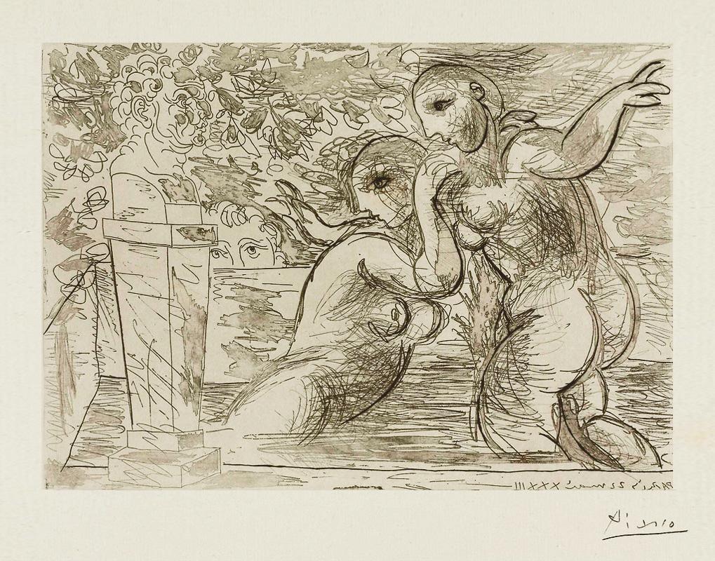 Картина Пабло Пикассо. Сюита Воллара (061). Удивленные купальщицы. 1933