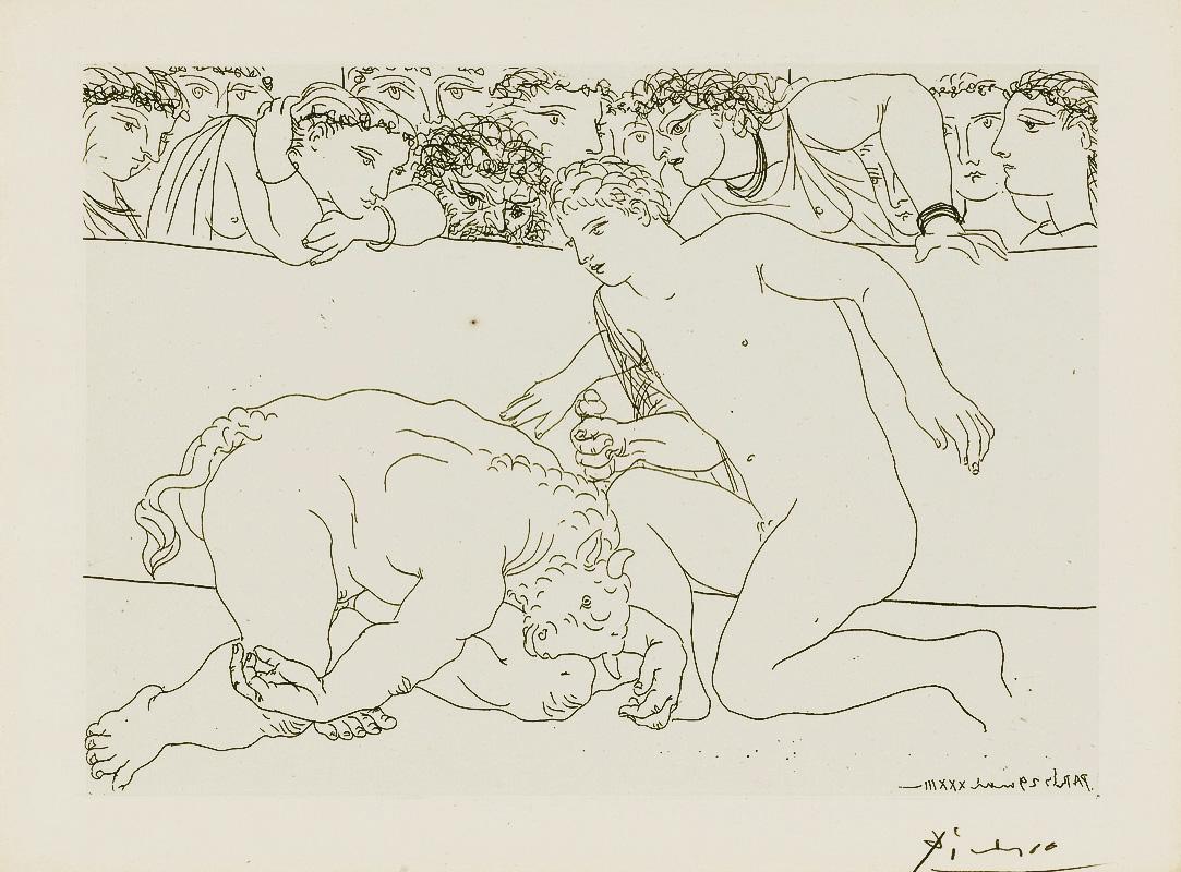 Картина Пабло Пикассо. Сюита Воллара (064). Побежденный Минотавр. 1933
