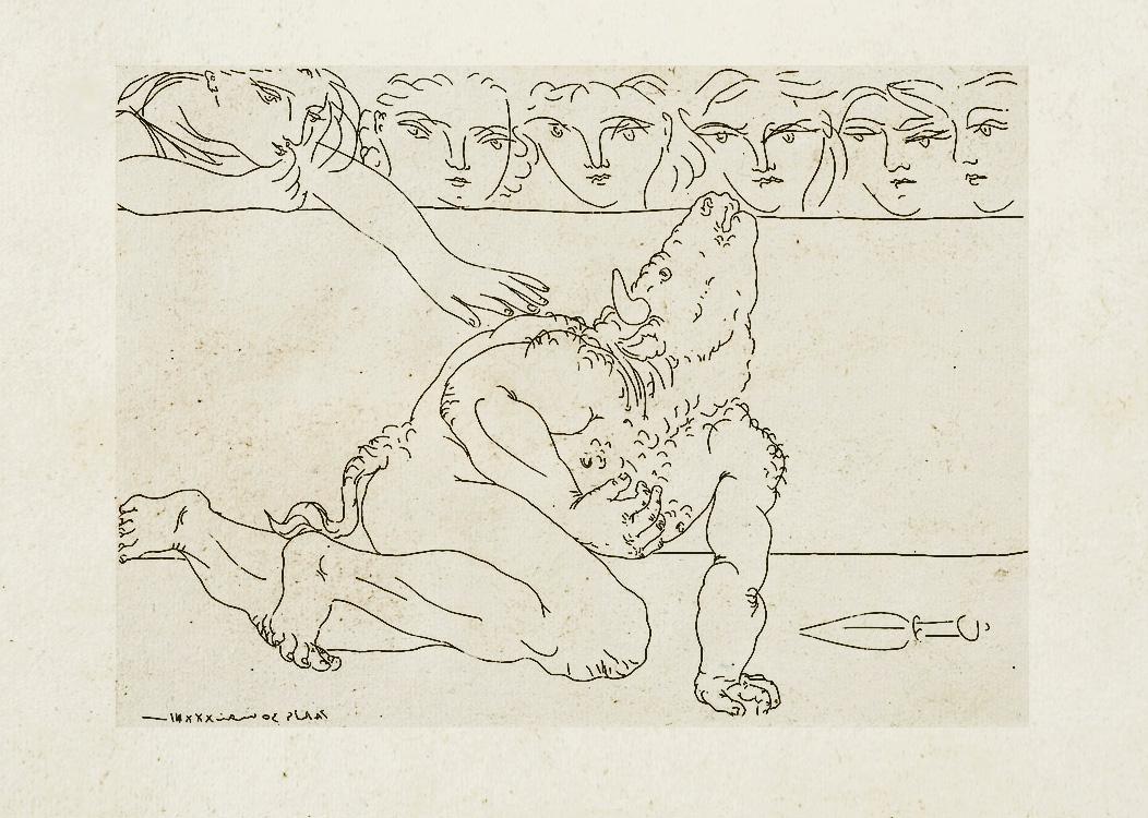 Картина Пабло Пикассо. Сюита Воллара (065). Умирающий Минотавр. 1933