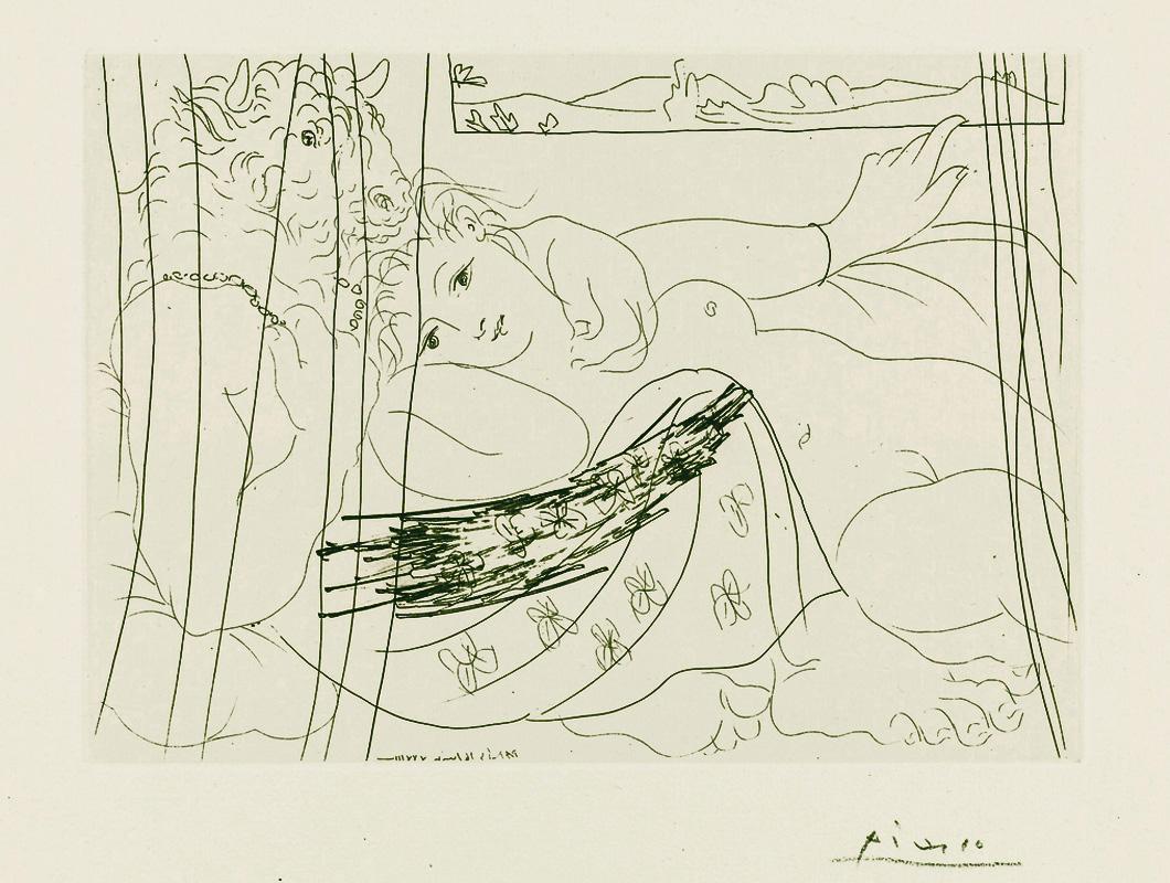 Картина Пабло Пикассо. Сюита Воллара (066). Минотавр и женщина за занавесью. 1933