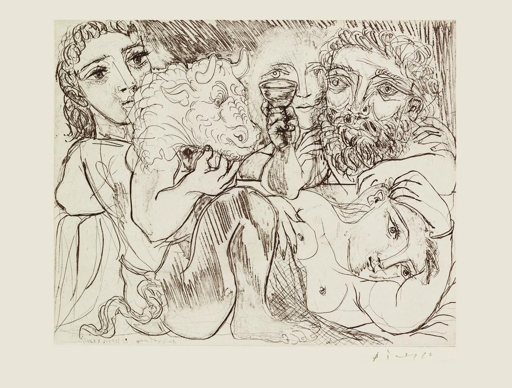 Картина Пабло Пикассо. Сюита Воллара (067). Минотавр, мужчина с кубком и женщины. 1933
