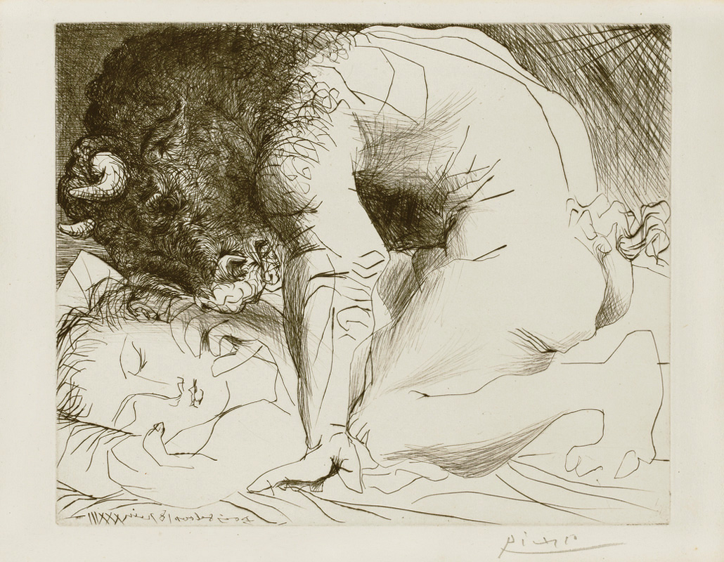 Картина Пабло Пикассо. Сюита Воллара (068). Минотавр, склонившийся над спящей. 1933