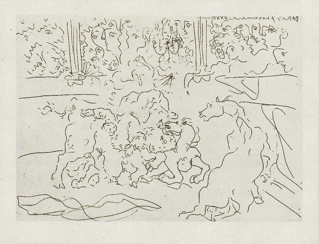 Картина Пабло Пикассо. Сюита Воллара (070). Бык и лошади на арене. 1933