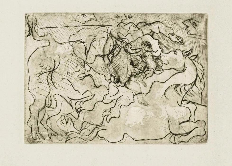 Картина Пабло Пикассо. Сюита Воллара (071). Коррида, или смерть под солнцем. 1933