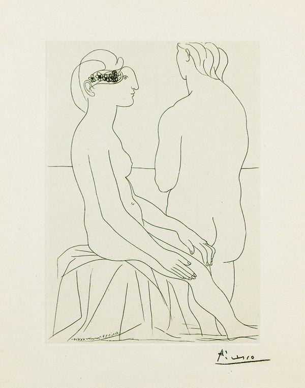 Картина Пабло Пикассо. Сюита Воллара (073). Две женщины, боком и спиной. 1934