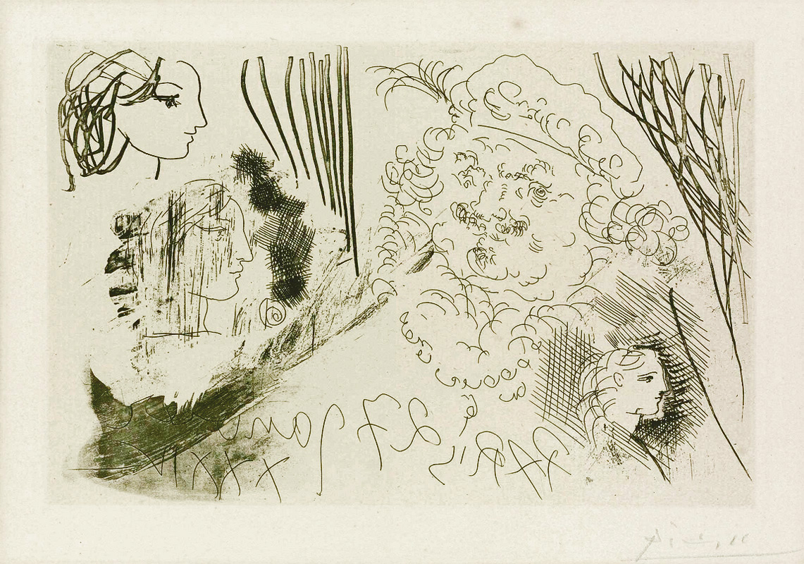 Картина Пабло Пикассо. Сюита Воллара (074). Рембрандт и женские профили. 1934