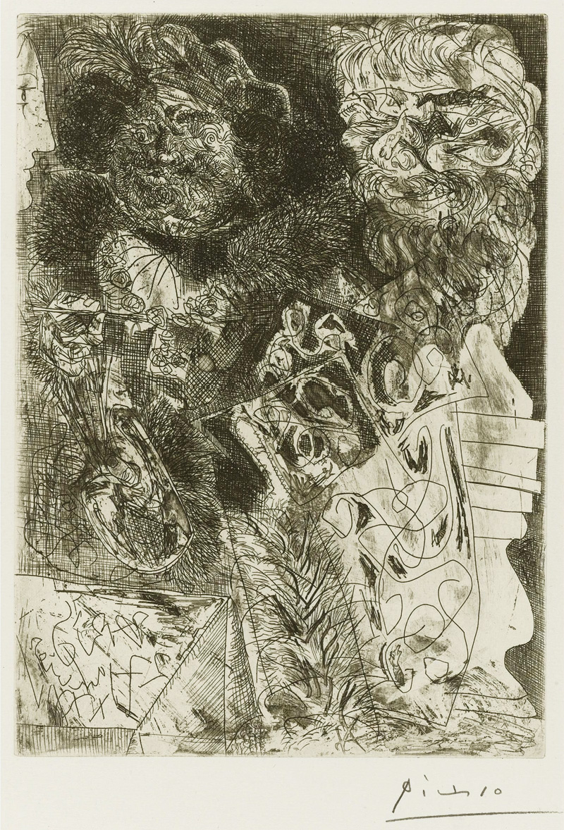 Картина Пабло Пикассо. Сюита Воллара (075). Рембрандт с палитрой. 1934
