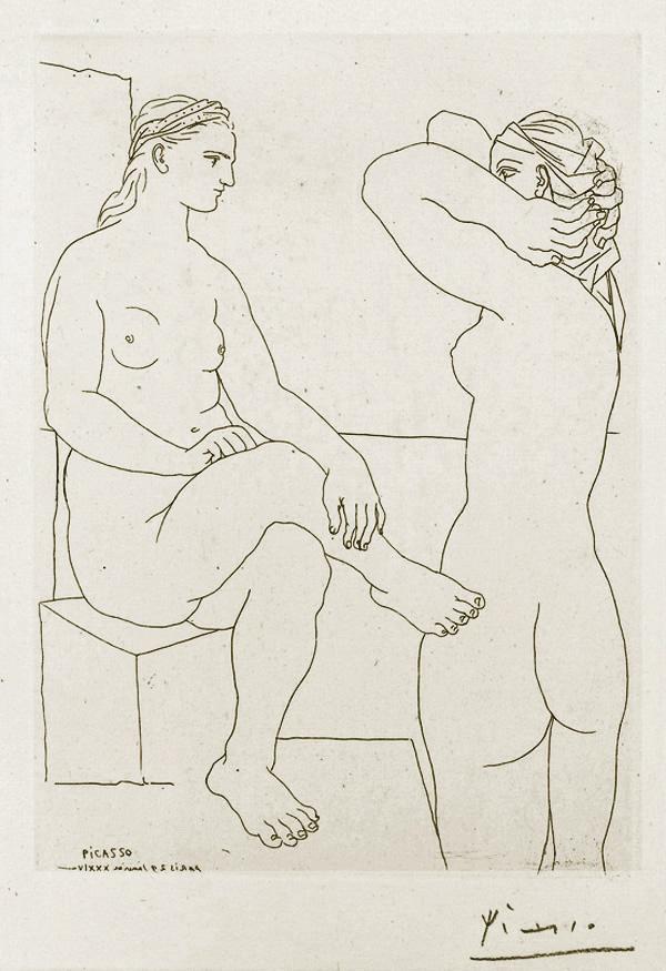 Картина Пабло Пикассо. Сюита Воллара (076). Две обнаженные. 1934