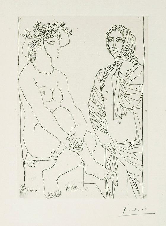Картина Пабло Пикассо. Сюита Воллара (077). Две женщины, в шляпе и в драпировке. 1934