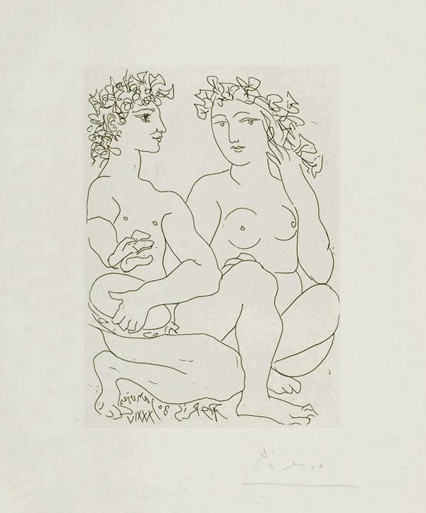 Картина Пабло Пикассо. Сюита Воллара (079). Юная пара, юноша с бубном. 1934