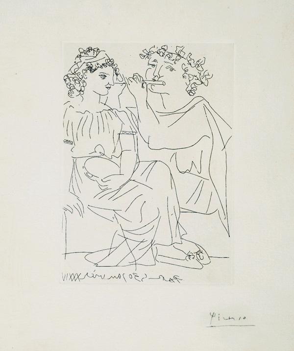 Картина Пабло Пикассо. Сюита Воллара (080). Флейтист и девушка с бубном. 1934