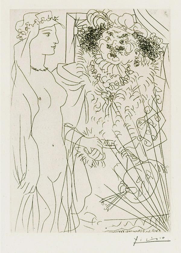 Картина Пабло Пикассо. Сюита Воллара (081). Рембрандт и женщина в вуали. 1934