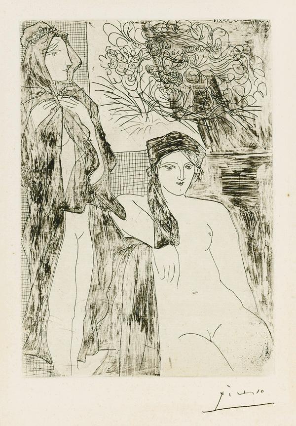 Картина Пабло Пикассо. Сюита Воллара (082). Рембрандт и две женщины. 1934