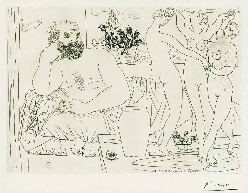 Картина Пабло Пикассо. Сюита Воллара (083). Скульптор и скульптура трех танцующих женщин. 1934