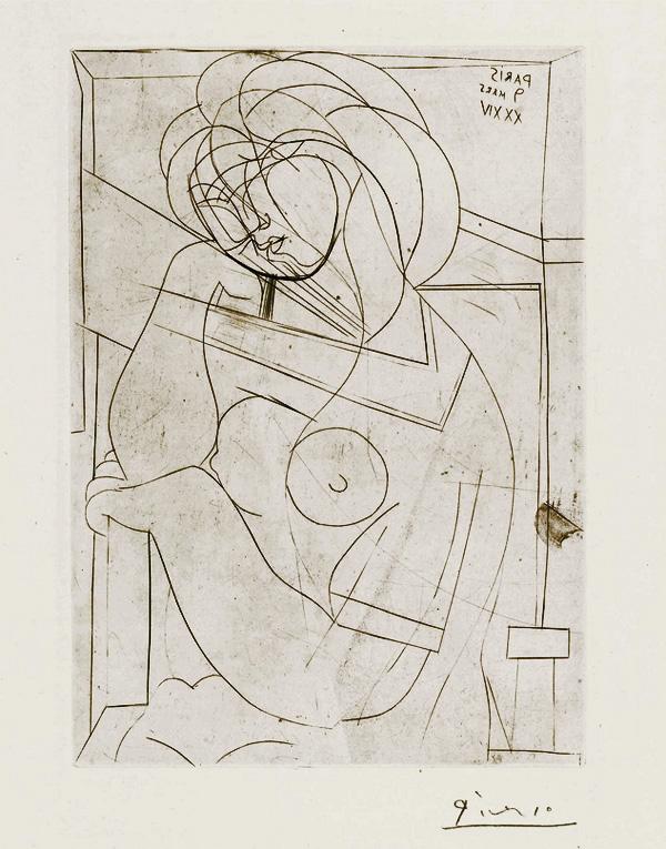 Картина Пабло Пикассо. Сюита Воллара (084). Женщина, подпирающая голову рукой. 1934