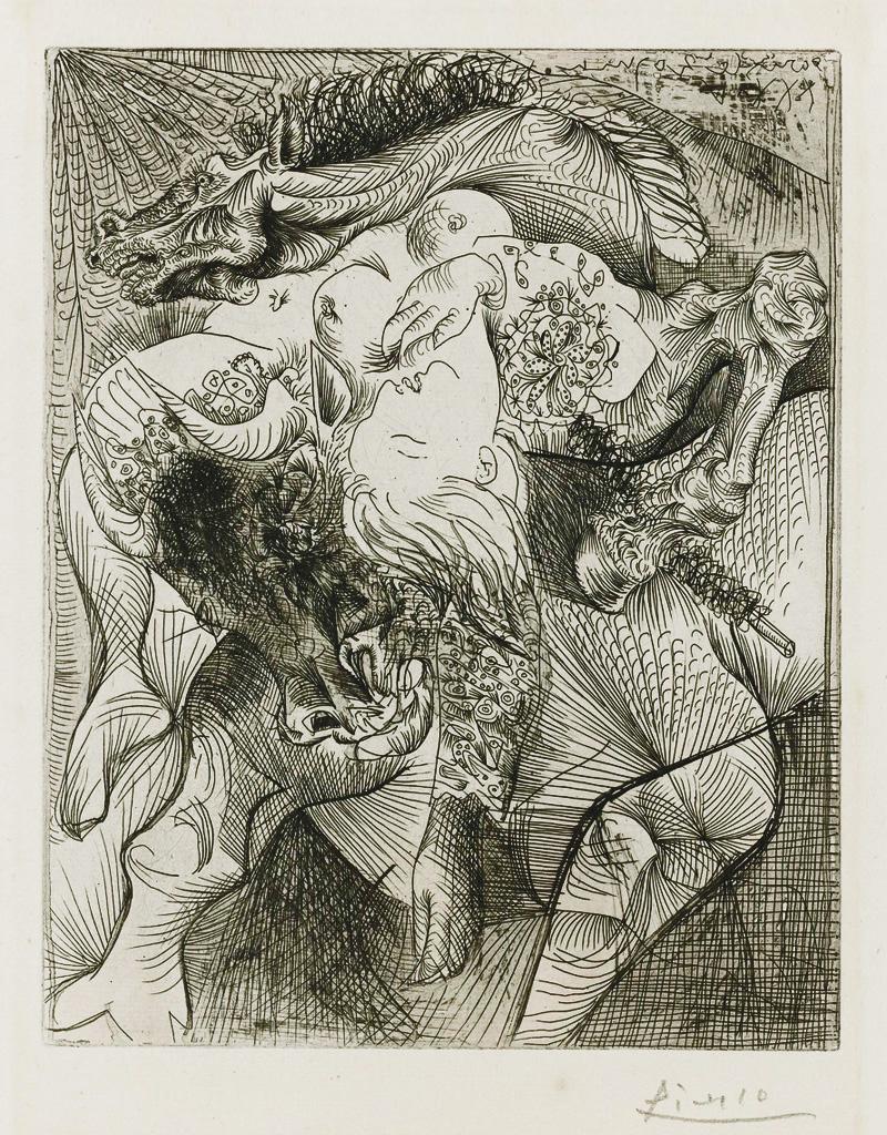 Картина Пабло Пикассо. Сюита Воллара (086). Женщина тореадор. 1934