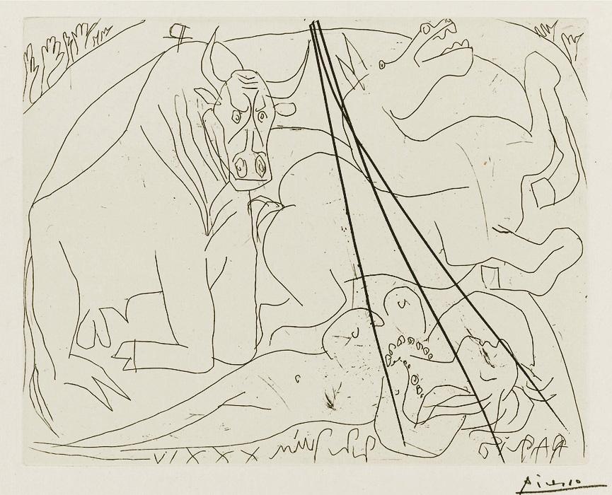 Картина Пабло Пикассо. Сюита Воллара (087). Женщина тореадор. 1934