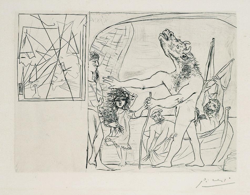 Картина Пабло Пикассо. Сюита Воллара (088). Слепой Минотавр, ведомый маленькой девочкой 1. 1934