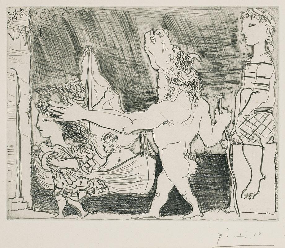 Картина Пабло Пикассо. Сюита Воллара (089). Слепой Минотавр, ведомый маленькой девочкой 2. 1934