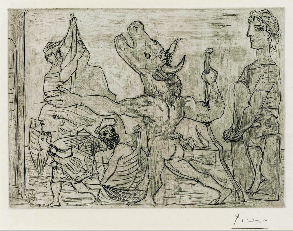 Картина Пабло Пикассо. Сюита Воллара (090). Слепой Минотавр, ведомый маленькой девочкой 3. 1934