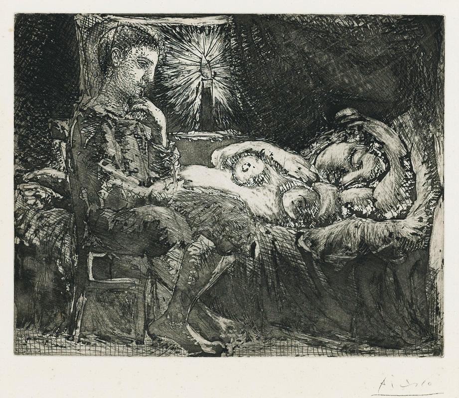 Картина Пабло Пикассо. Сюита Воллара (091). Мальчик, наблюдающий за спящей при свете свечи. 1934