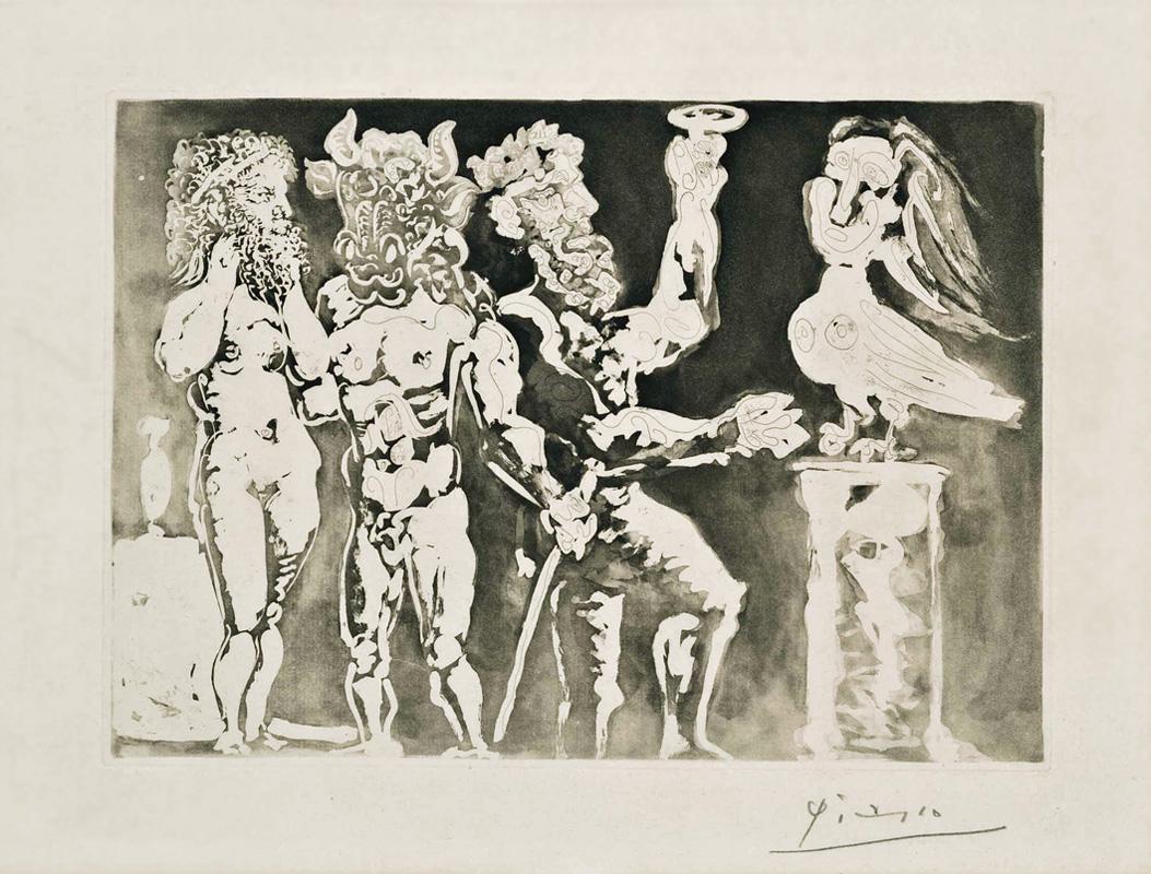 Картина Пабло Пикассо. Сюита Воллара (092). Персонажи в масках и женщина-птица. 1934