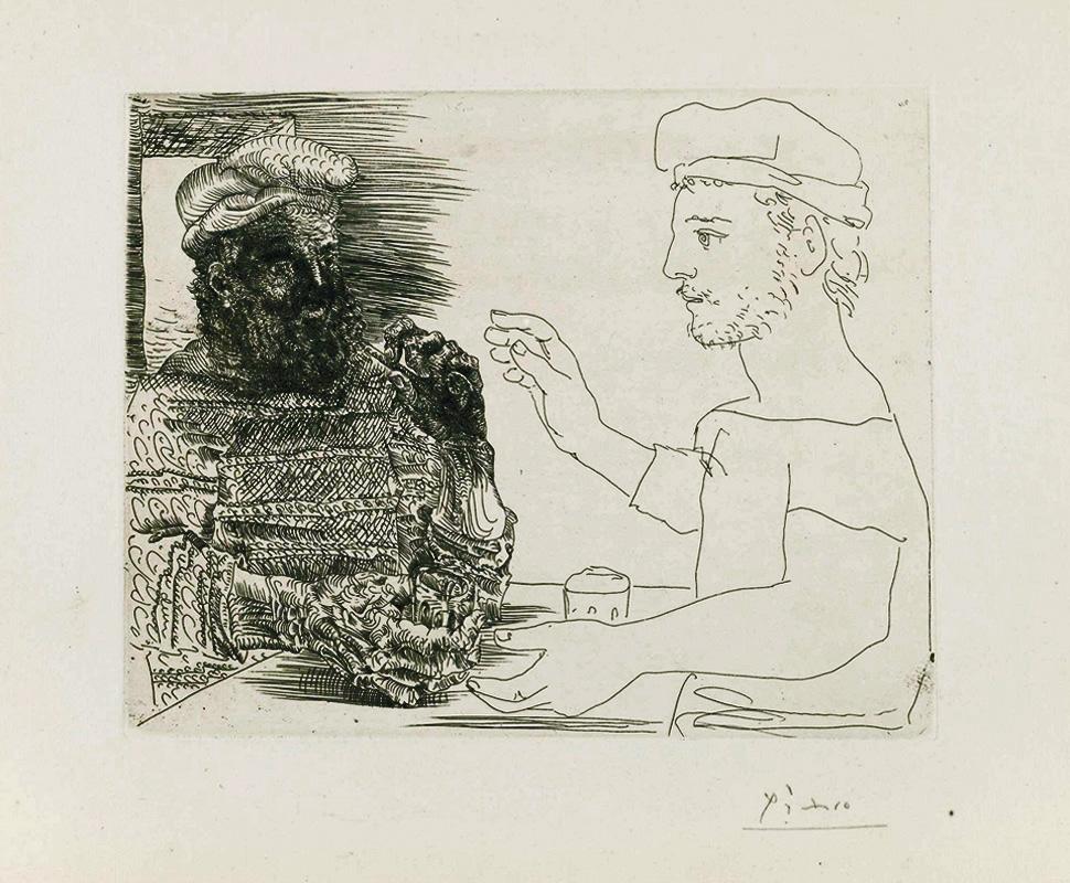 Картина Пабло Пикассо. Сюита Воллара (093). Два выпивающих каталонца. 1934