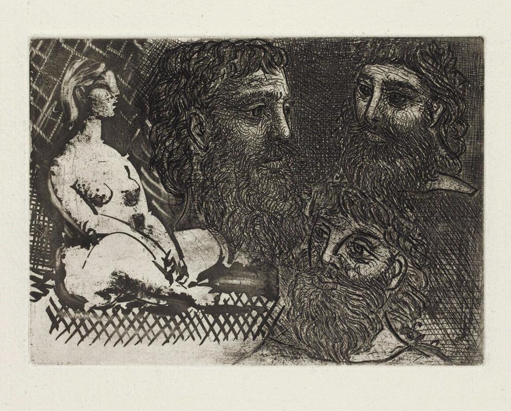 Картина Пабло Пикассо. Сюита Воллара (094). Сидящая обнаженная и три бородатые головы. 1934