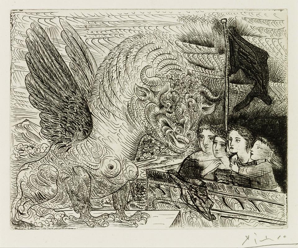 Картина Пабло Пикассо. Сюита Воллара (095). Гарпия с головой быка и четыре девочки. 1934