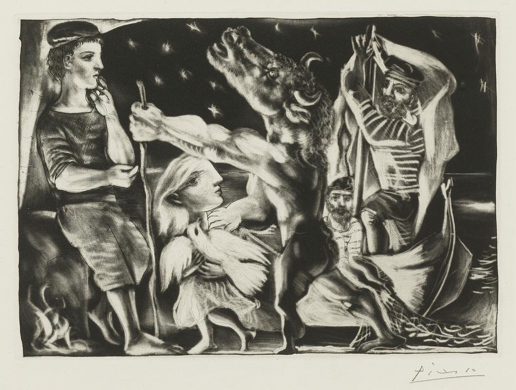 Картина Пабло Пикассо. Сюита Воллара (096). Слепой Минотавр, ведомый маленькой девочкой 4. 1934