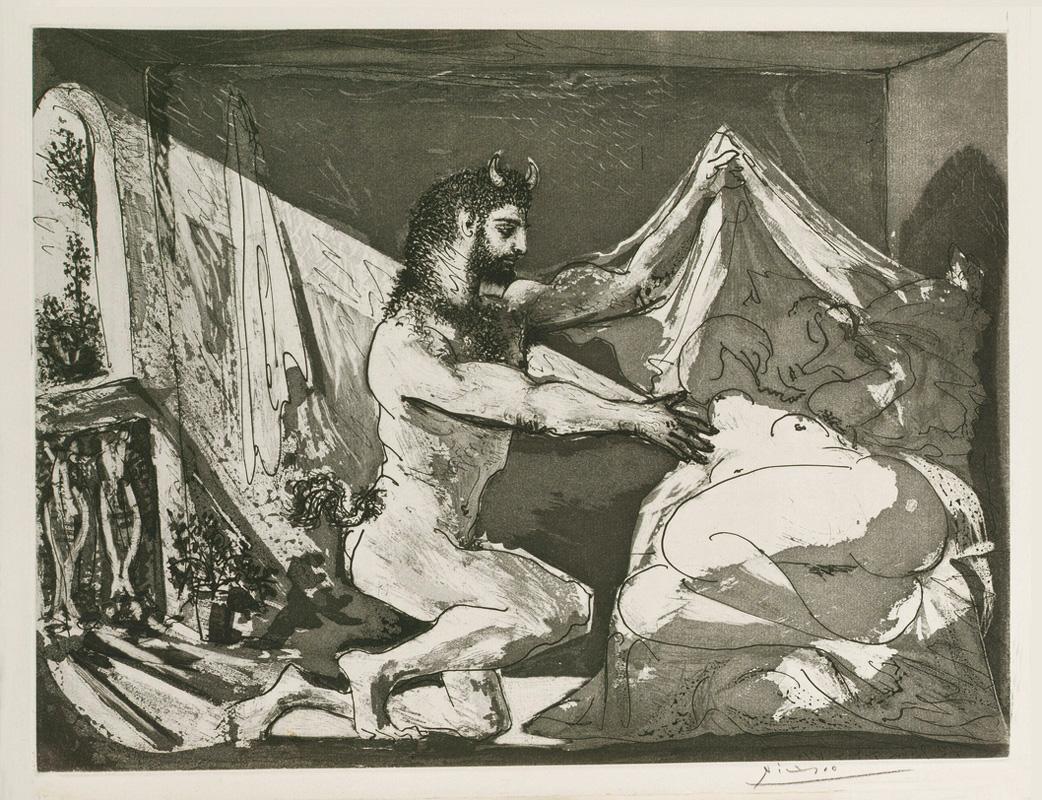Картина Пабло Пикассо. Сюита Воллара (097). Фавн, раскрывающий спящую девушку. 1936