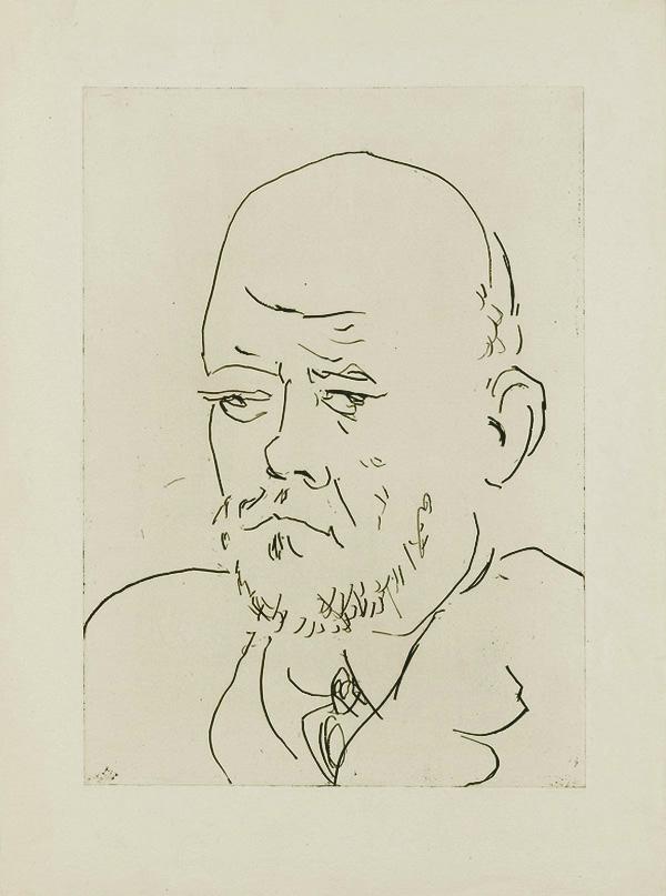 Картина Пабло Пикассо. Сюита Воллара (100). Портрет Воллара 3. 1937