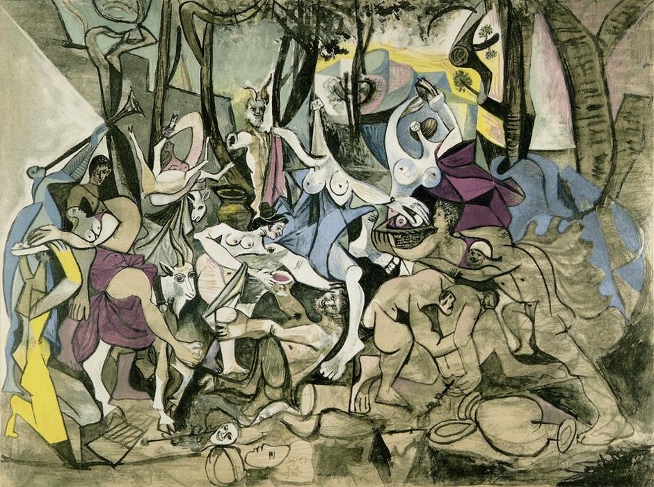 Картина Пабло Пикассо. Вакханалия. Триумф Пана (после Пуссена). 1944
