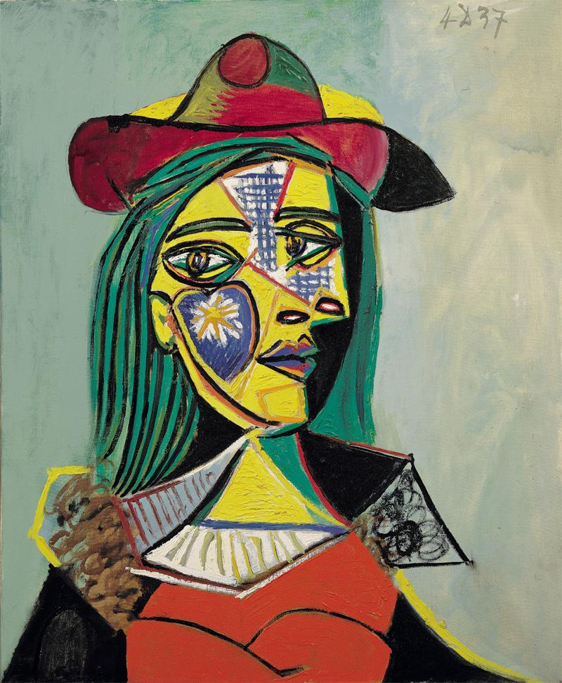 Картина Пабло Пикассо. Женщина в шляпе, с меховом воротником. 1937