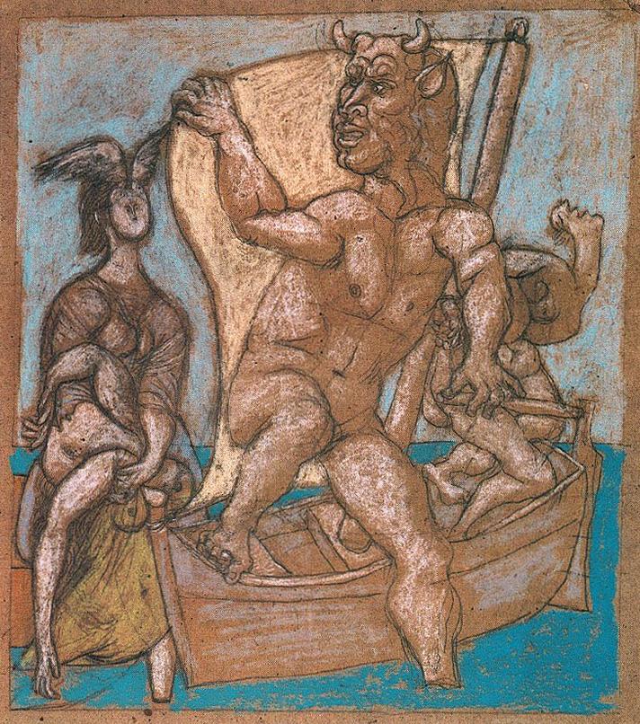 Картина Пабло Пикассо. Минотавр и женщины. 1937