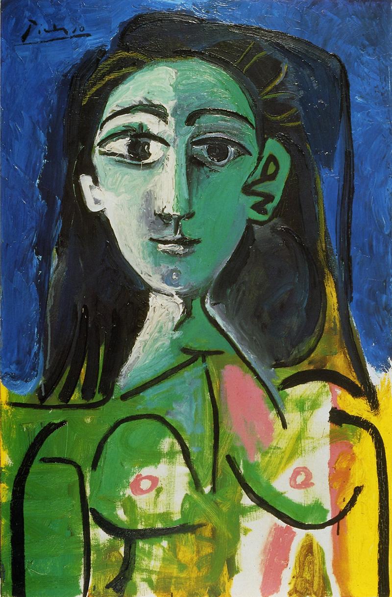 Картина Пабло Пикассо. Молодая женщина (Портрет Жаклин). 1963