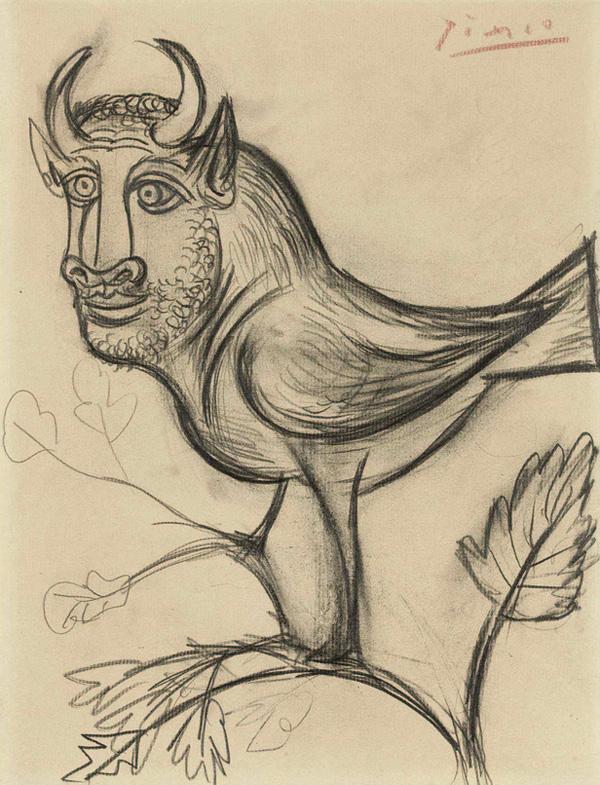 Картина Пабло Пикассо. Минотавр в виде птицы. 1941