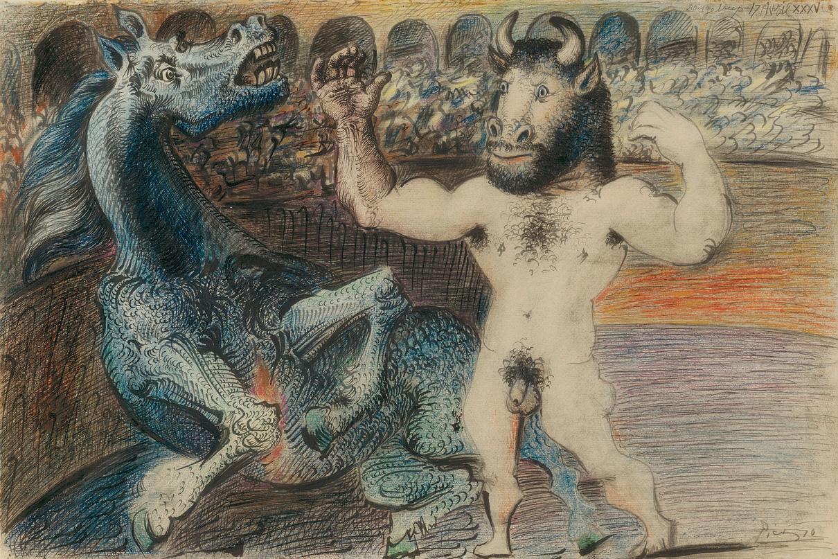 Картина Пабло Пикассо. Минотавр и раненая лошадь. 1935