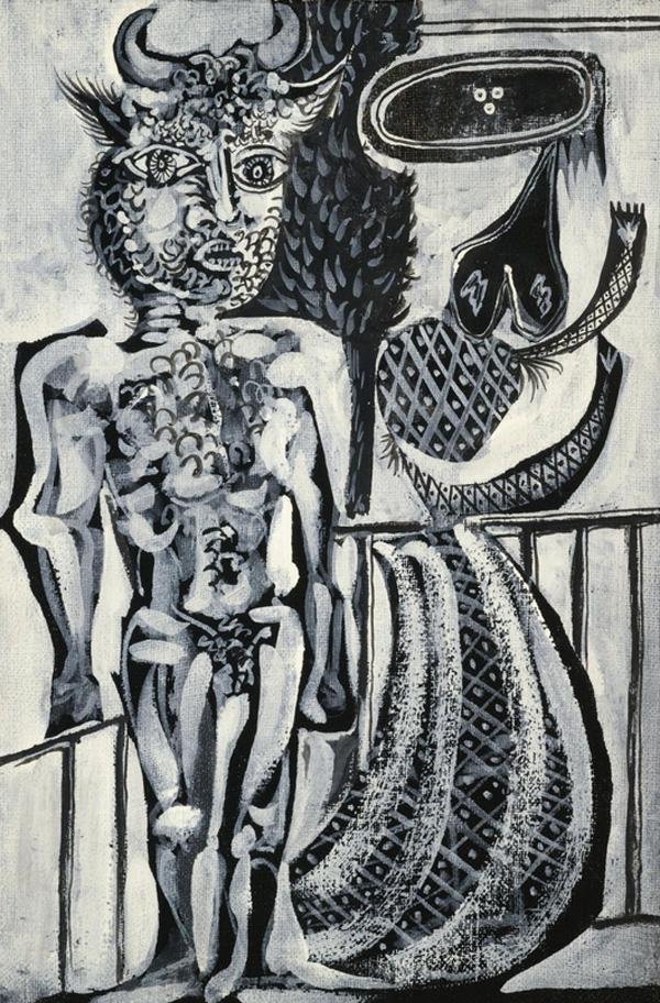 Картина Пабло Пикассо. Минотавр и женщина. 1937