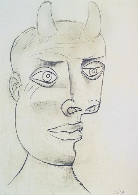 Картина Пабло Пикассо. Голова Минотавра 2. 1937