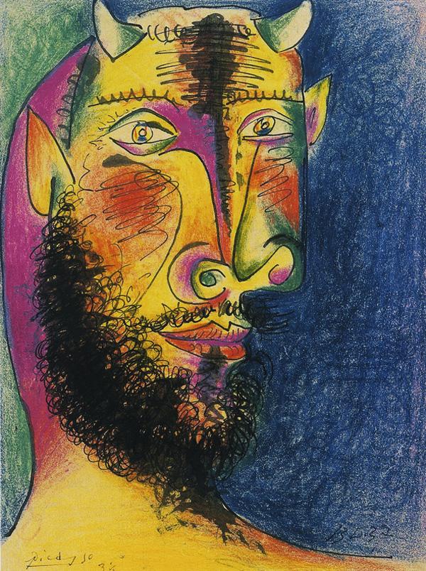 Картина Пабло Пикассо. Голова Минотавра. 1937