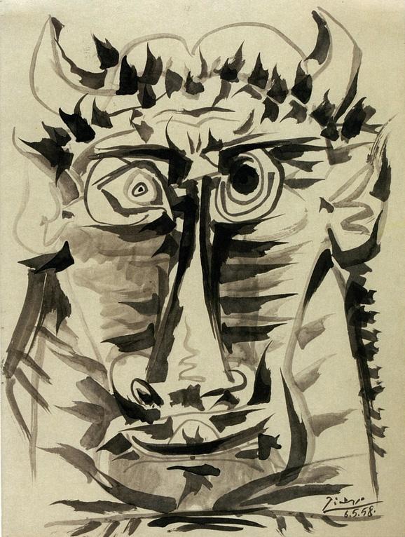 Картина Пабло Пикассо. Голова Минотавра. 1958